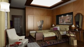 Elegant Art Deco Bedroom With Wooden Style Walls, Lamps, Painting